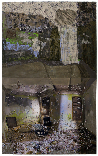 Mirror Ceiling: A Room With a Mattress and a Chair 96 x 60 inches, acrylic, gouache, lace, archival ink jet print and cement on canvas and fabric, 2017