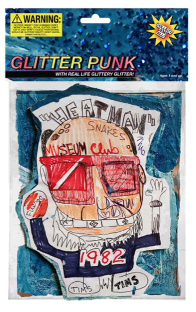 "Glitter Punk, 2018, 6.5"" x 10, mixed media on cardboard encased in polystyrene plastic, with archival inkjet print /  verso: inkjet print on foam board."