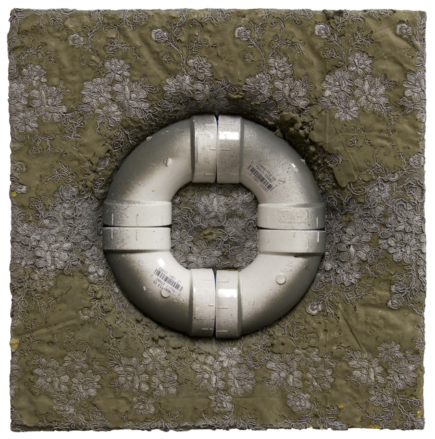 Life Saver, 16 x 16 in, acrylic, cement, PVC pipes and lace, 2019