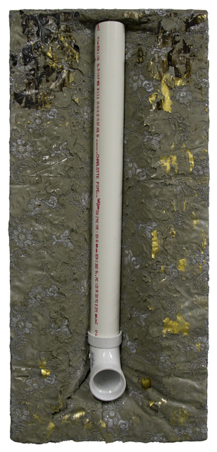 Charlotte Pipe, 32 x 15 x 6.5 in, acrylic, cement, PVC pipes and lace, 2020