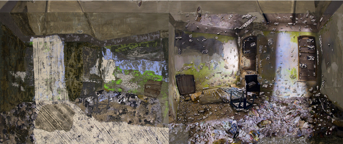 Mirror Ceiling: A Room with a Mattress and a Chair, 48 x 120 in, acrylic, gouache, lace, archival ink jet print and cement on canvas and fabric, 2017-2020