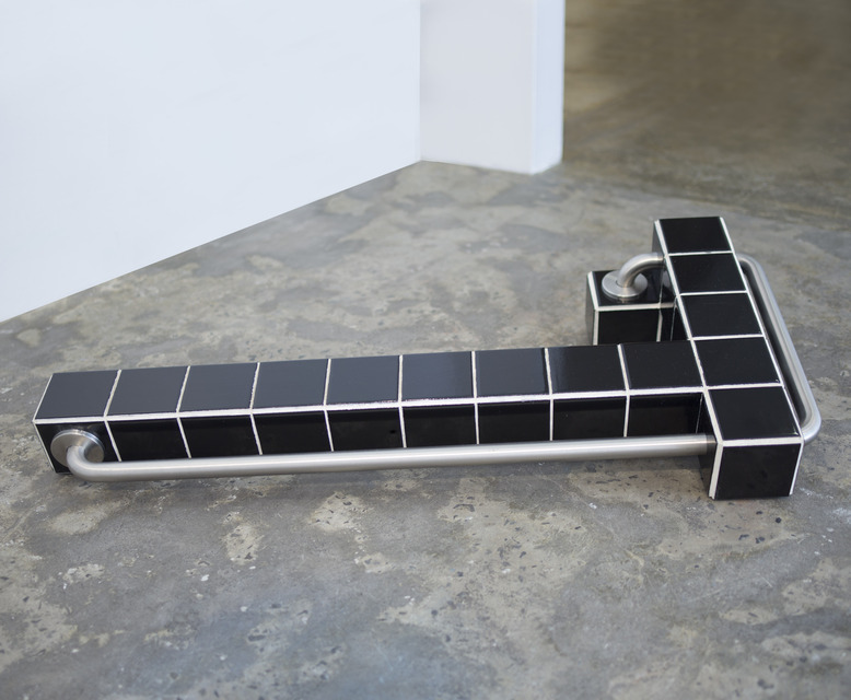 Territoria, 2018, Ceramic tiles, stainless steel, wood, 44 x 22 x 9 in