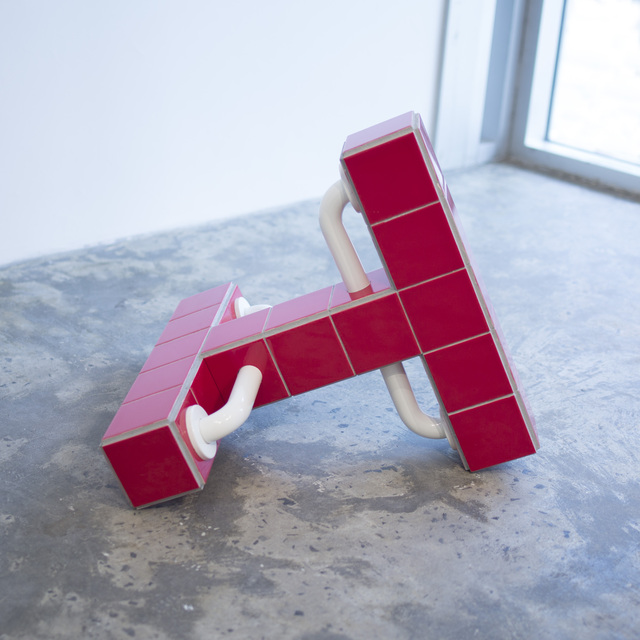 Blaze, 2019, Ceramic tiles, wood, stainless steel, grout, 22 x 22.5 x 26 in