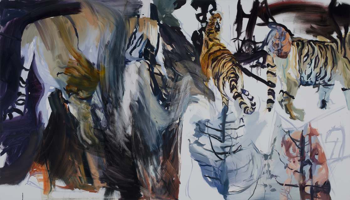 Tigers Fires, oil on canvas, 48 x 84 in, 2020