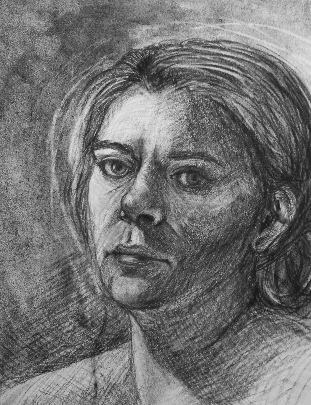 Charcoal Self-Portrait, Nikoletta T