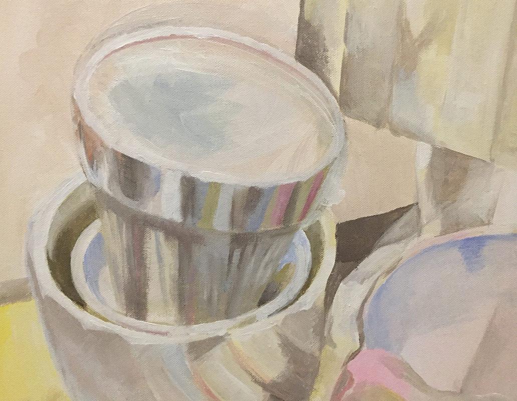 White Acrylic Painting, Anya Chen