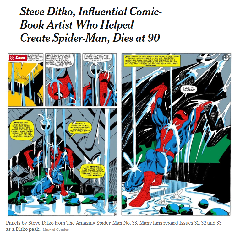 New York Times article, Steve Ditko Obituary