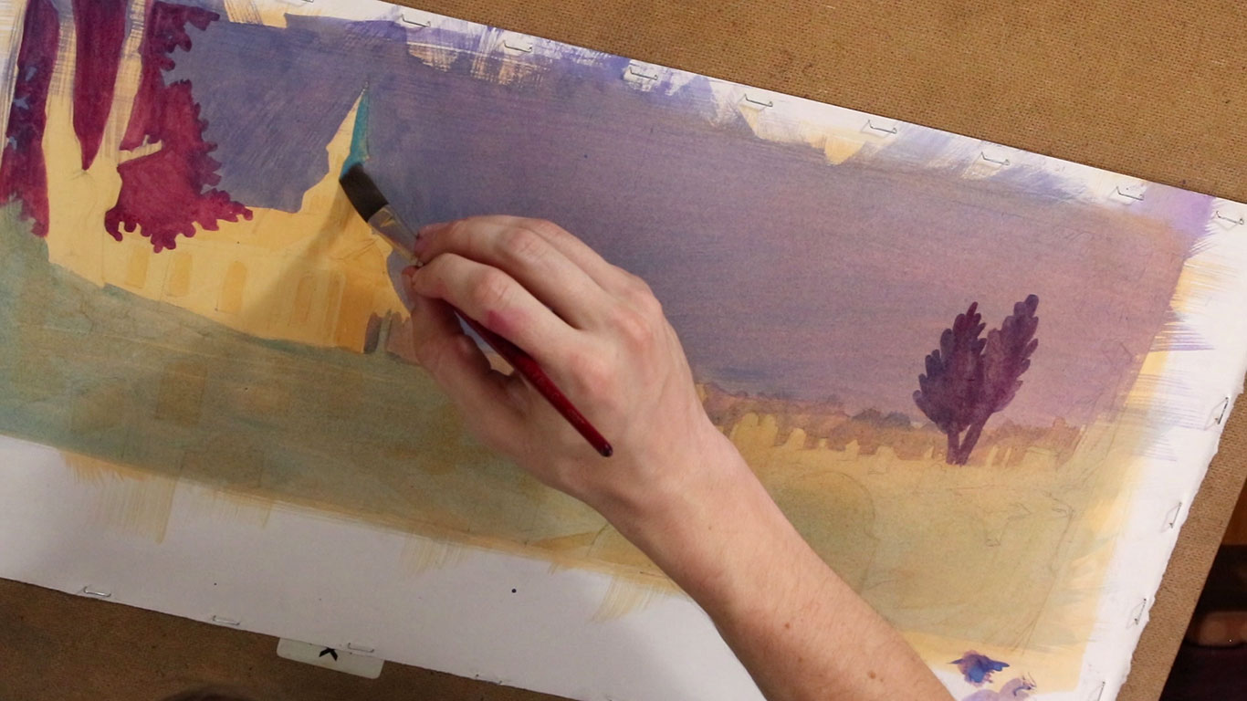 Book Illustration in Gouache in Progress, Alex Rowe