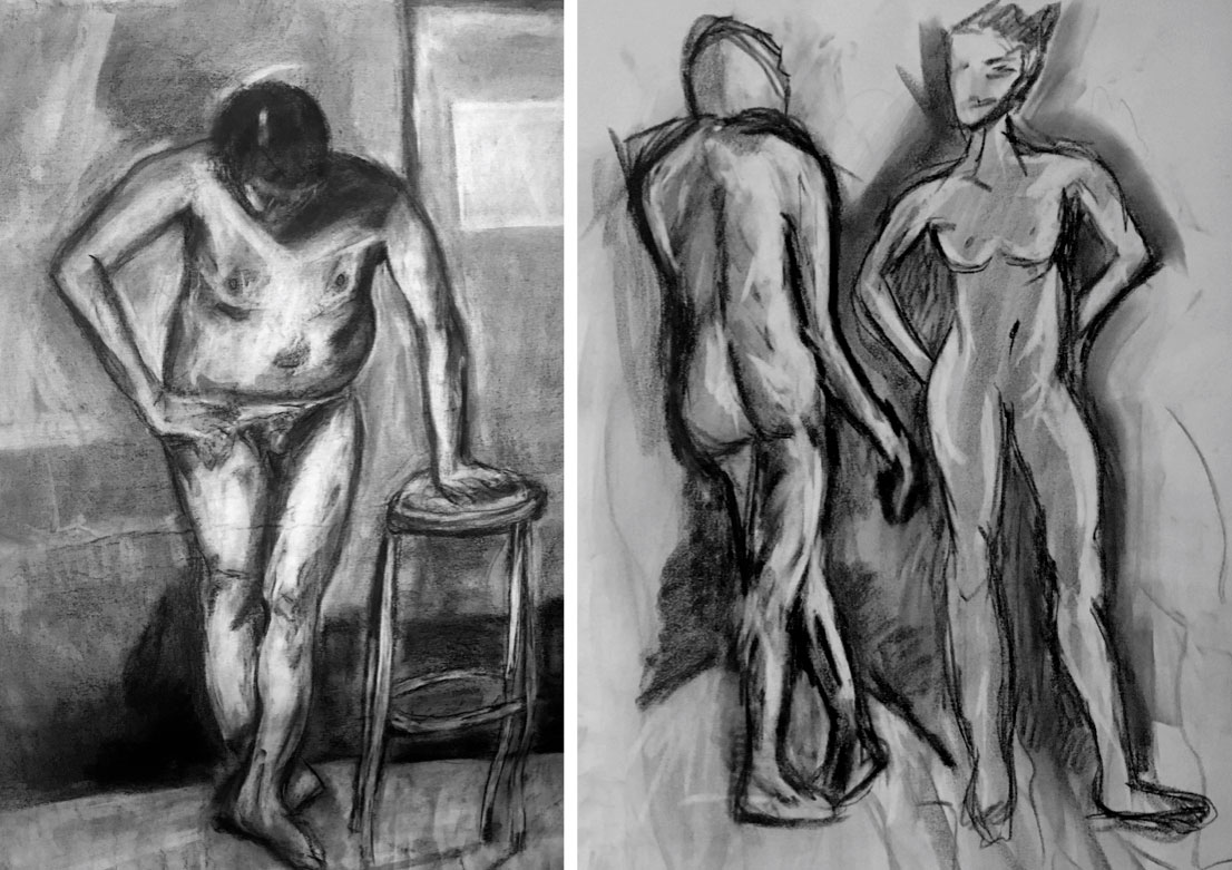 Charcoal Figure Drawing, Neve Rechan