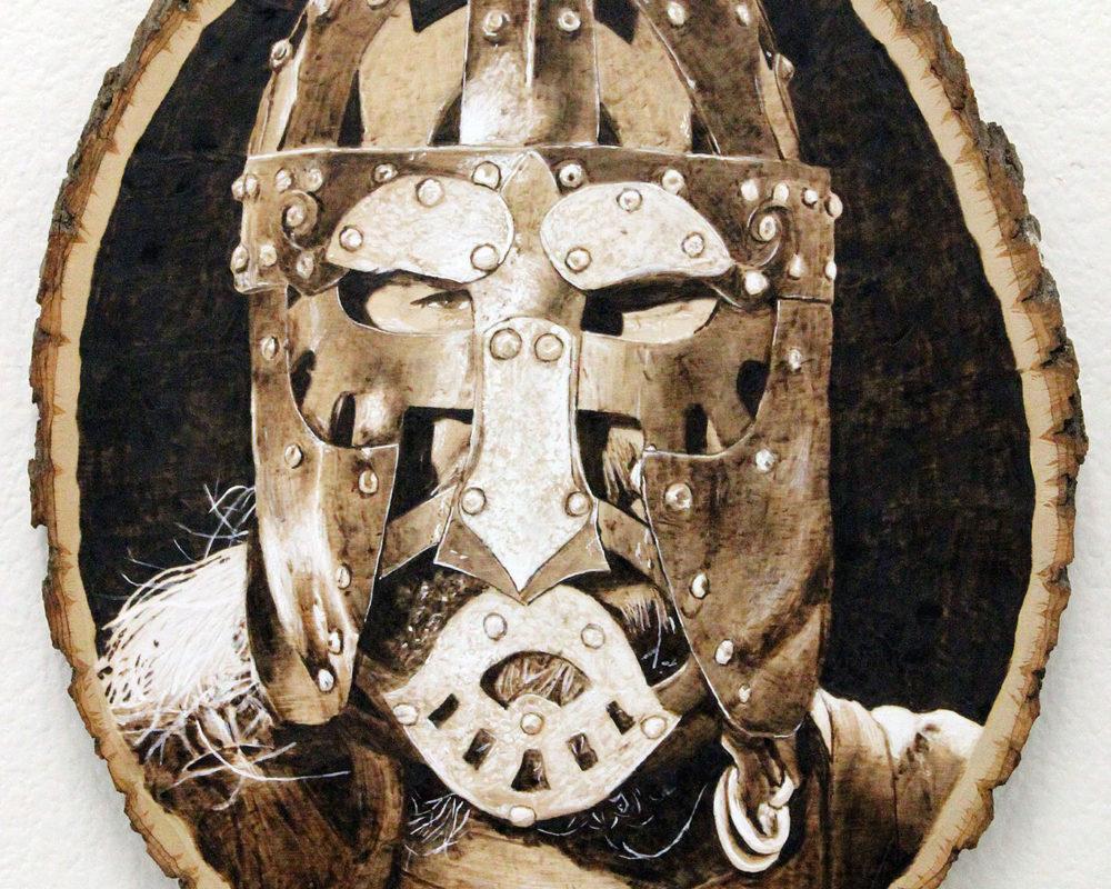 Mixed Media Pyrography & Acrylic Paint, Ross Hines