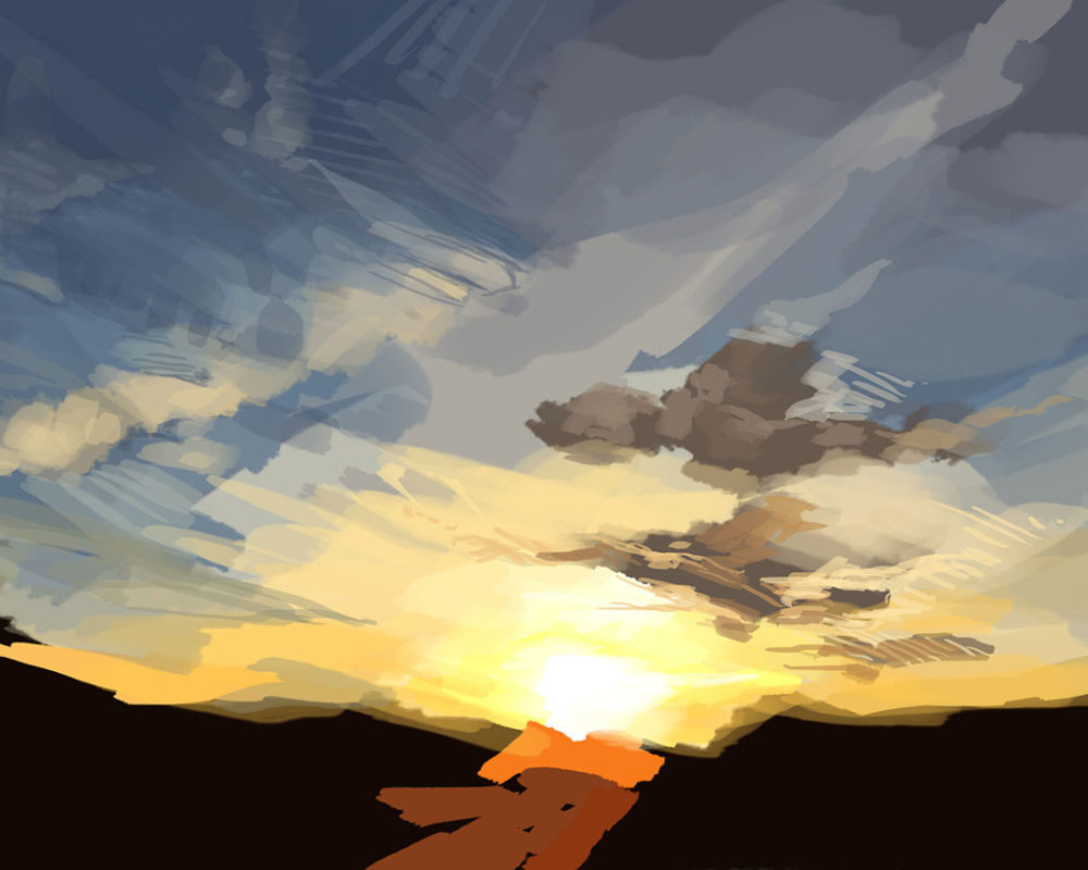 Digital Sky Painting Process, Amelia Rozear