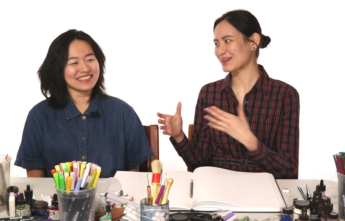 Teaching Artists Cat Huang and Julie Benbassat