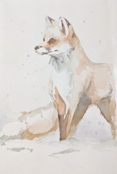 Watercolor Painting, Fox in Snow