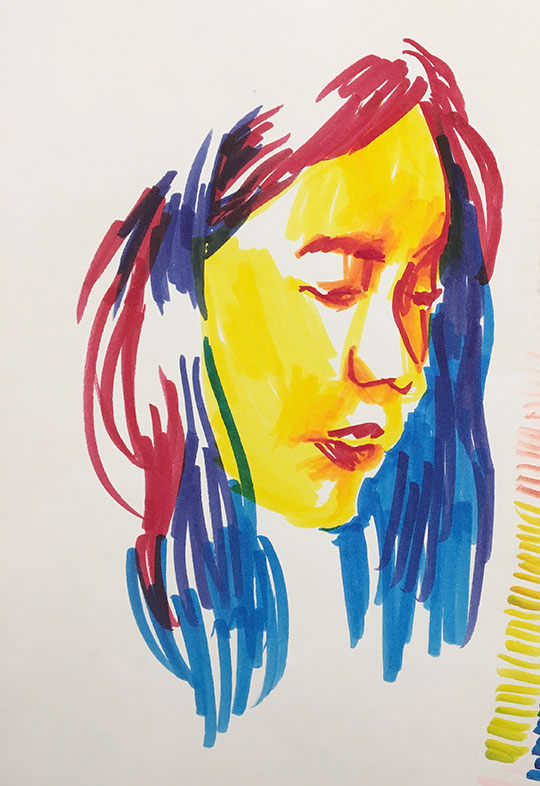 Brush Pen Portrait Drawings, Christine Wang