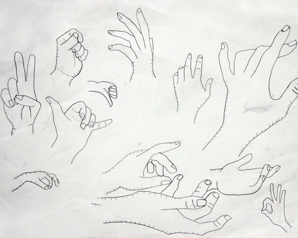 Hands Drawing, high school art class, art teacher Ross Hines