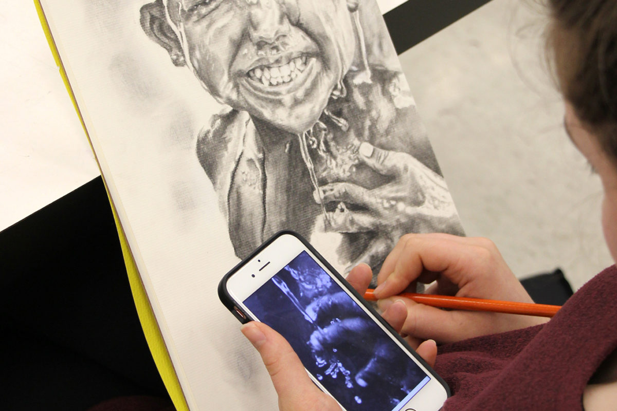 Portrait Drawings, high school art class, art teacher Ross Hines