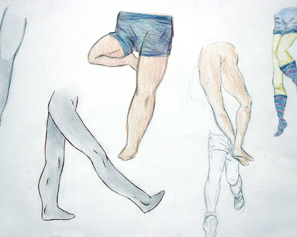 Legs & Feet Drawing, high school art class, art teacher Ross Hines