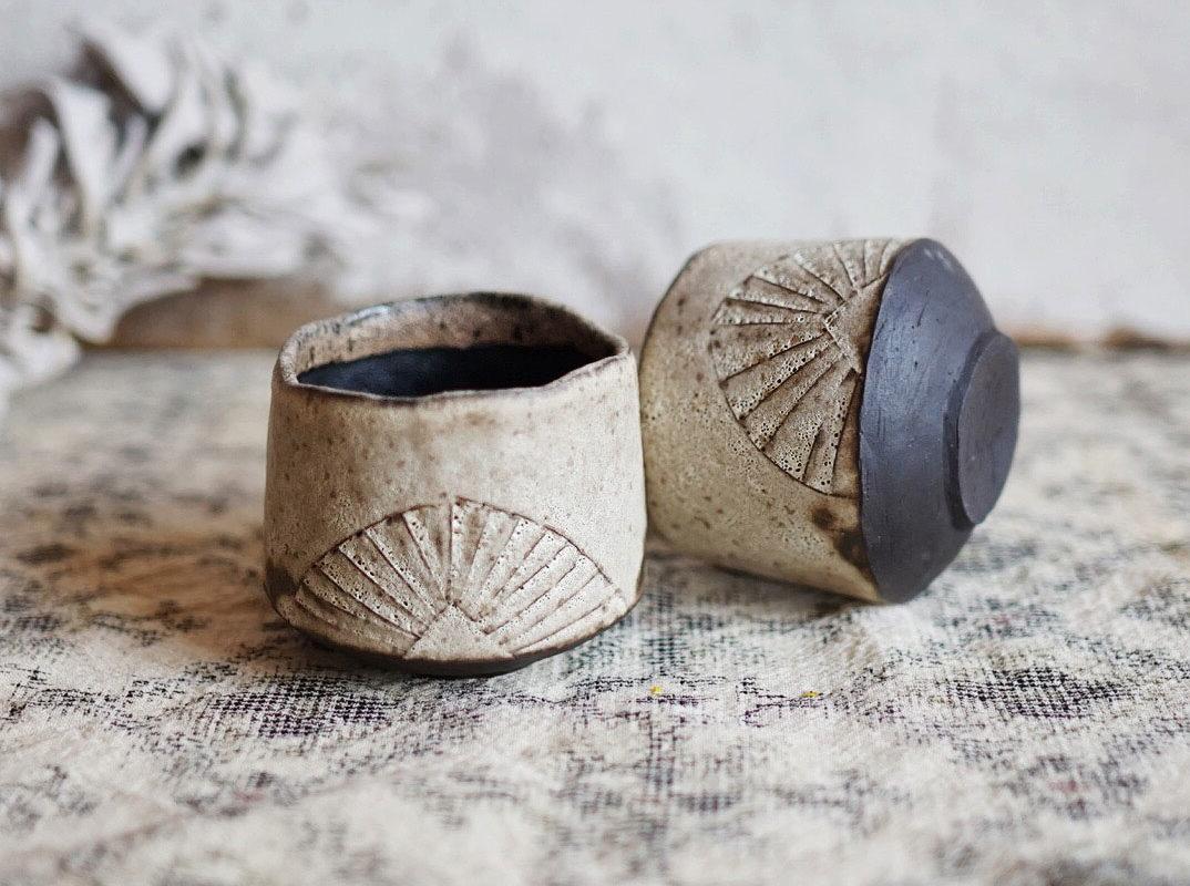 Rustic Sunrise Cups. Ayame Ceramics