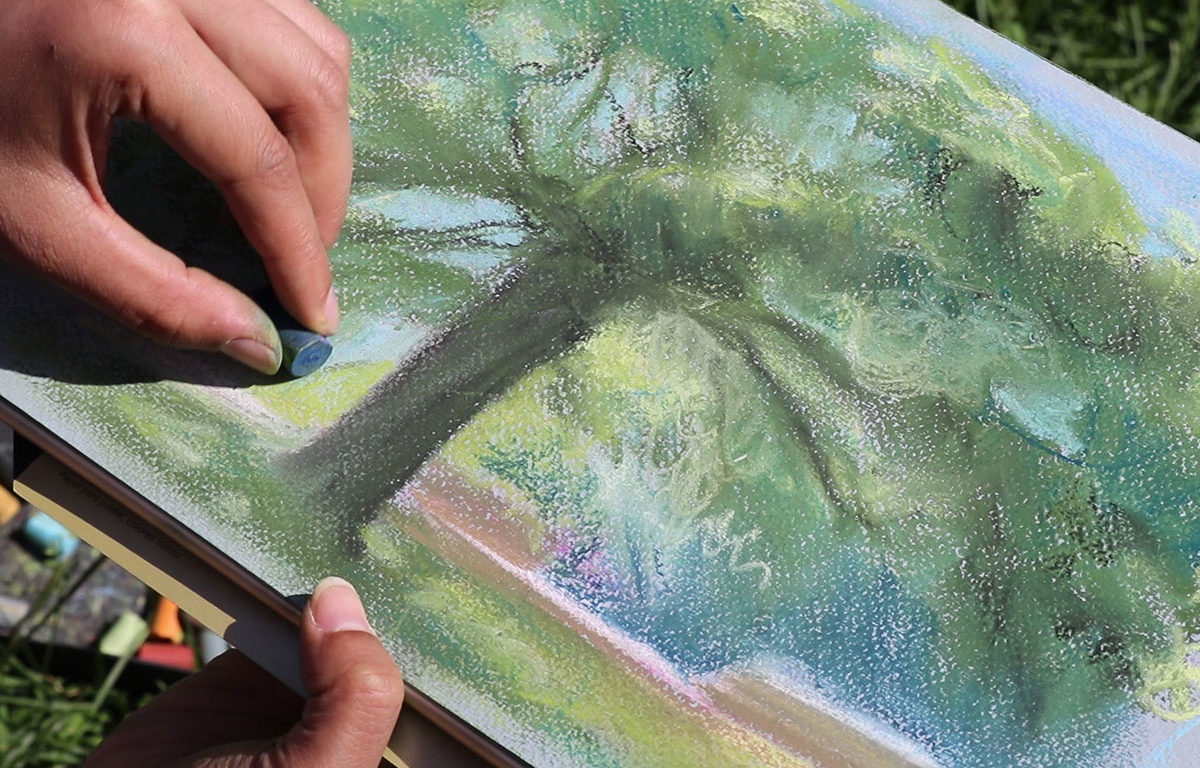 Plein Air Soft Pastel Drawing, Julie Benbassat