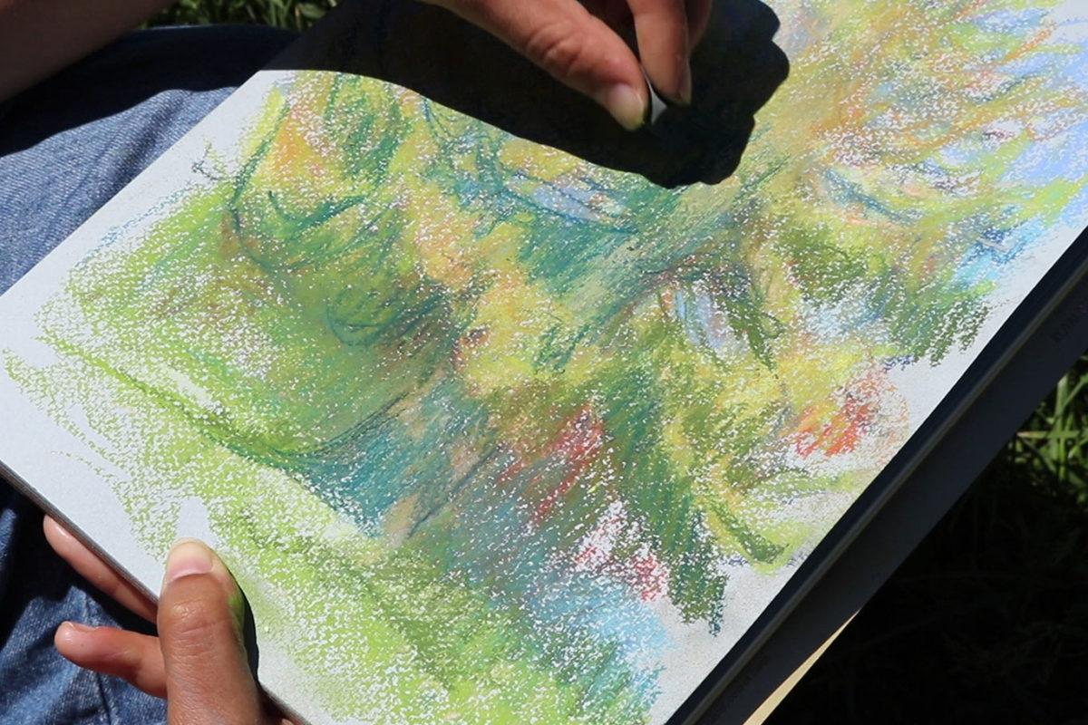 Plein Air Soft Pastel Drawing, Julie Benbassat