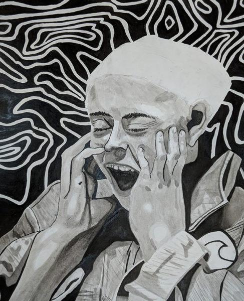 Ink Wash Portrait Drawing, David Fetherston