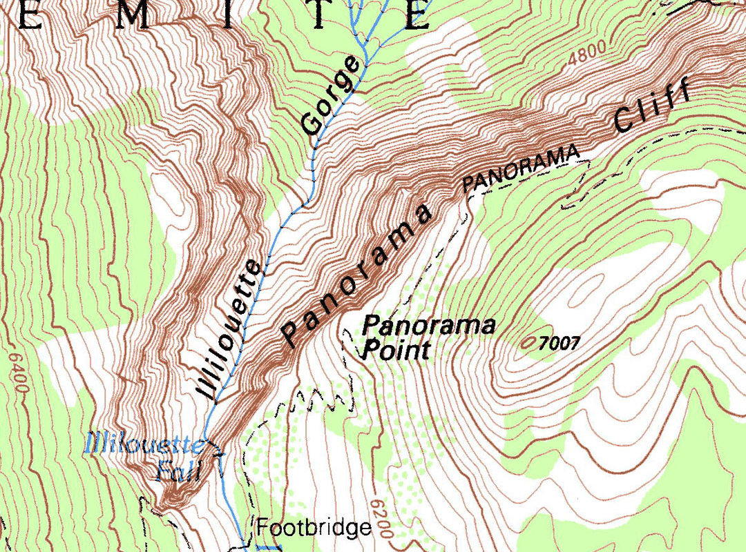 Topographic Map of the Happy Isles and Mist Trail area in Yosemite-Valley-—-Yosemite National Park