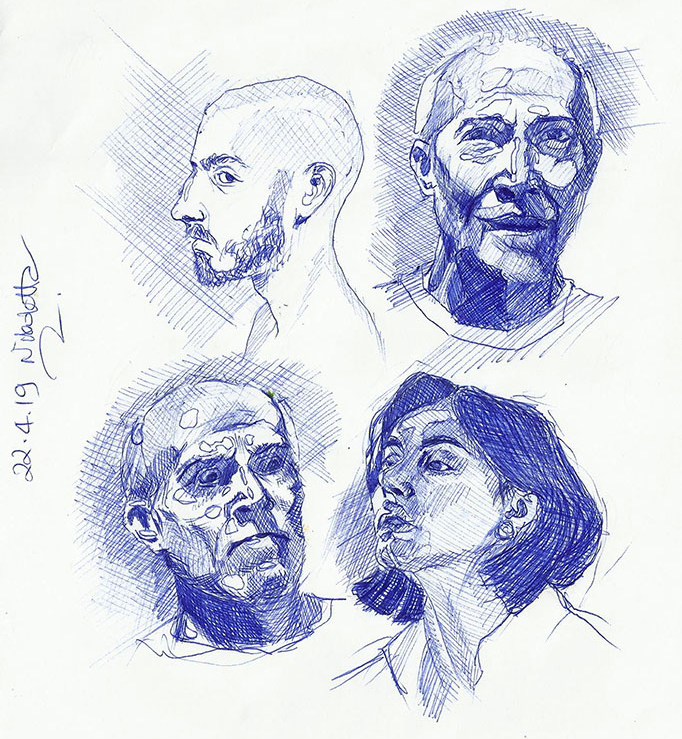 Portrait Drawings in Ballpoint Pen, Nikoletta Theodoropoulou