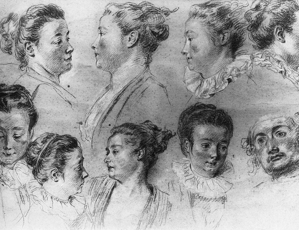 Jean-Antoine Watteau, Studies of Women's Heads, 18th century