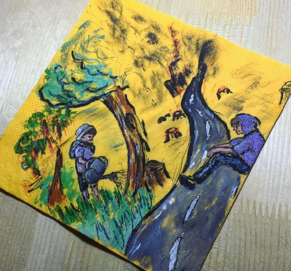 Napkin Drawing, markers and ink, Ana Chabakauri