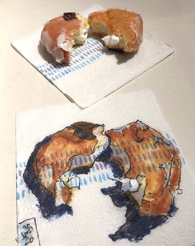Napkin Drawing, brush pen & markers, Suzanne Hughes