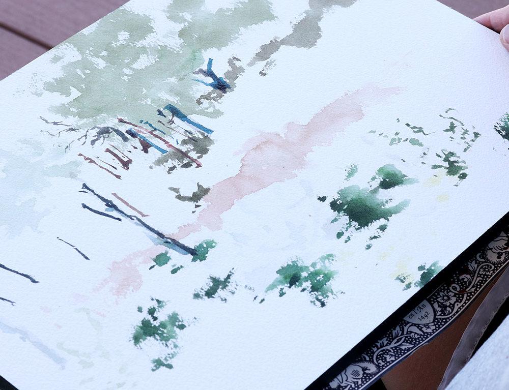 Landscape Watercolor Painting, (in progress) Clara Lieu