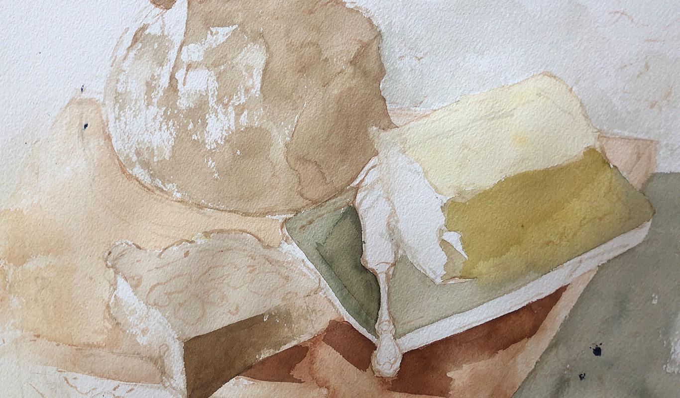 Still Life Watercolor Painting, (in progress) Clara Lieu