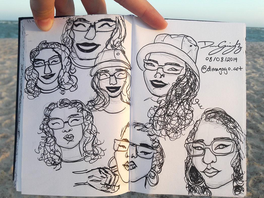 Self-Portrait Cartoons in Pen, Diana Gonzalez