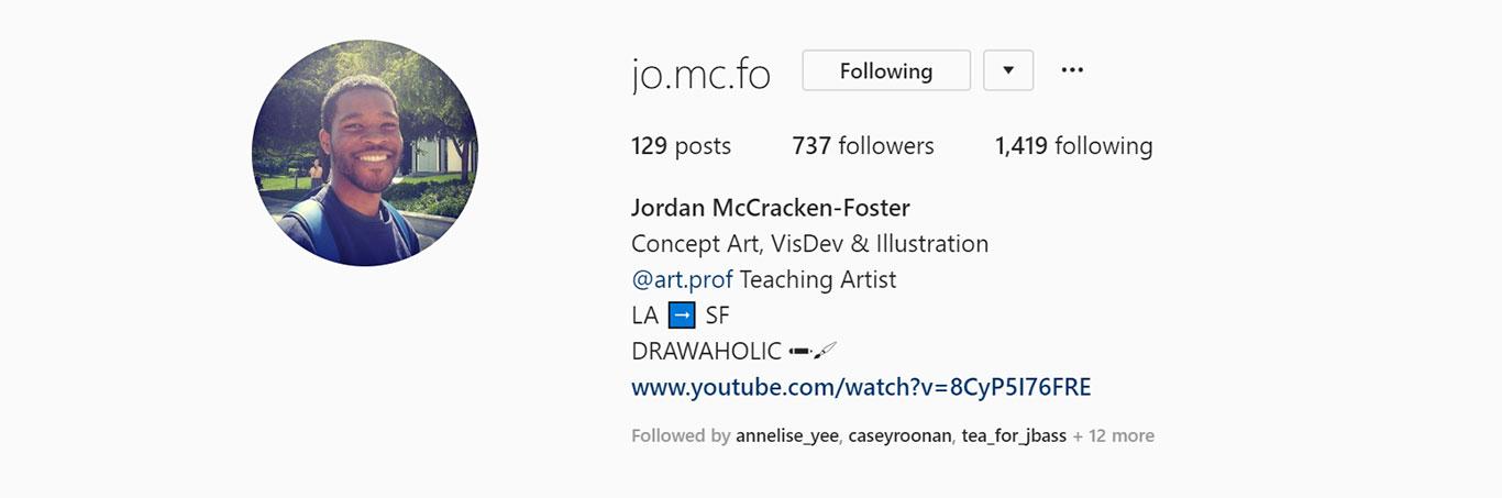 Jordan McCracken-Foster, Instagram