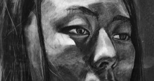 Charcoal Self-Portrait Drawing, Yihan Wang