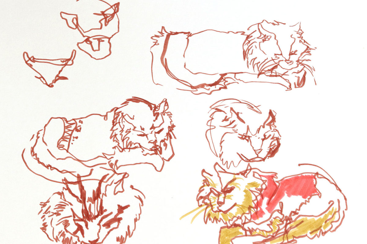 Cat Gesture Drawing, Marker, Lauryn Welch
