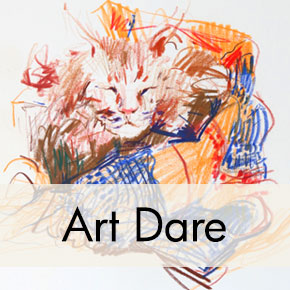 Cat Gesture Drawing, Colored Pencil, Clara Lieu