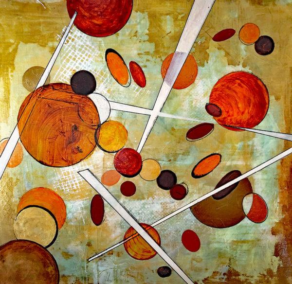 Circles, Acrylic & Ink Painting, Kathleen Whitaker