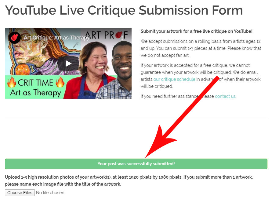 Submission Form Confirmation