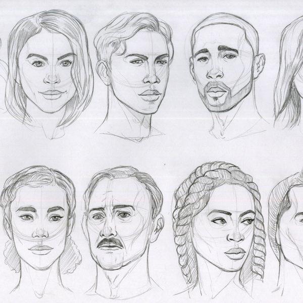 Head Drawings in Pencil. Jordan McCracken-Foster