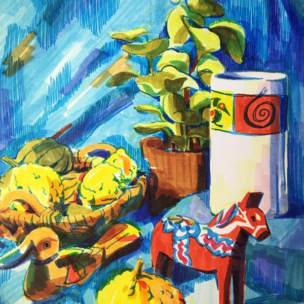 Still Life Marker Drawing, Cat Huang