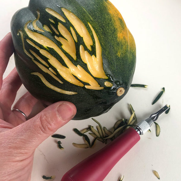 Carving an Acorn Squash
