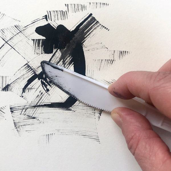 Drawing with a Plastic Knife and Ink