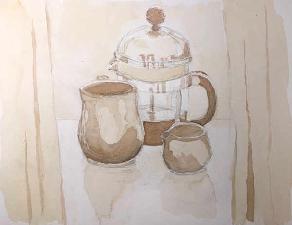 Coffee & Balsamic Vinegar Painting, Simple Triskell