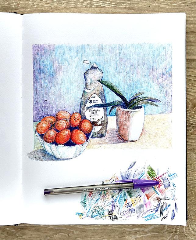 Rowenn Beth Kalman, Ballpoint Pen Drawing