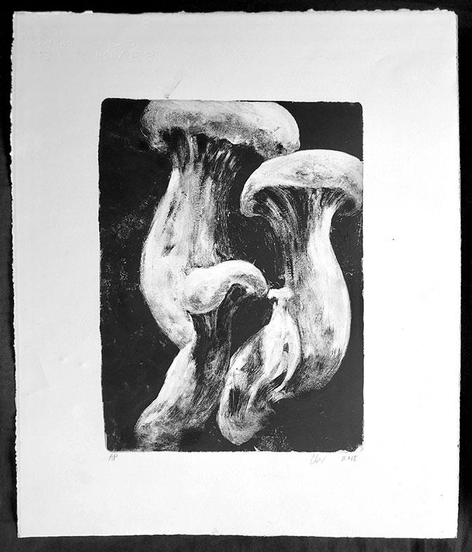 Mushroom Gelli Plate Monotype, Clara Lieu