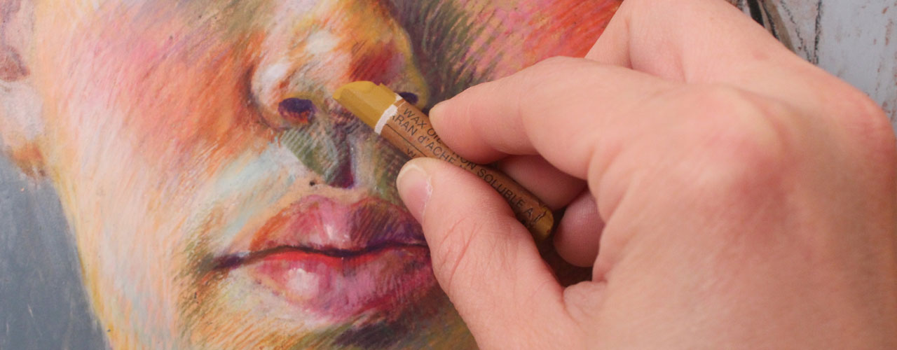 Drawing a Portrait with Caran d'Ache Crayons