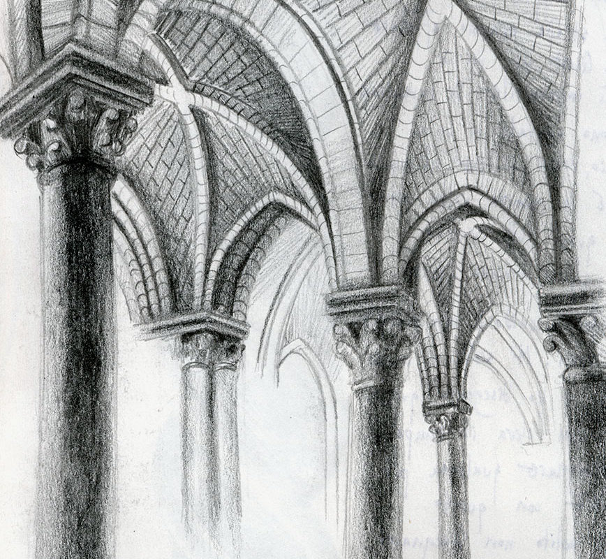 Pencil sketchbook drawing gothic cathedral