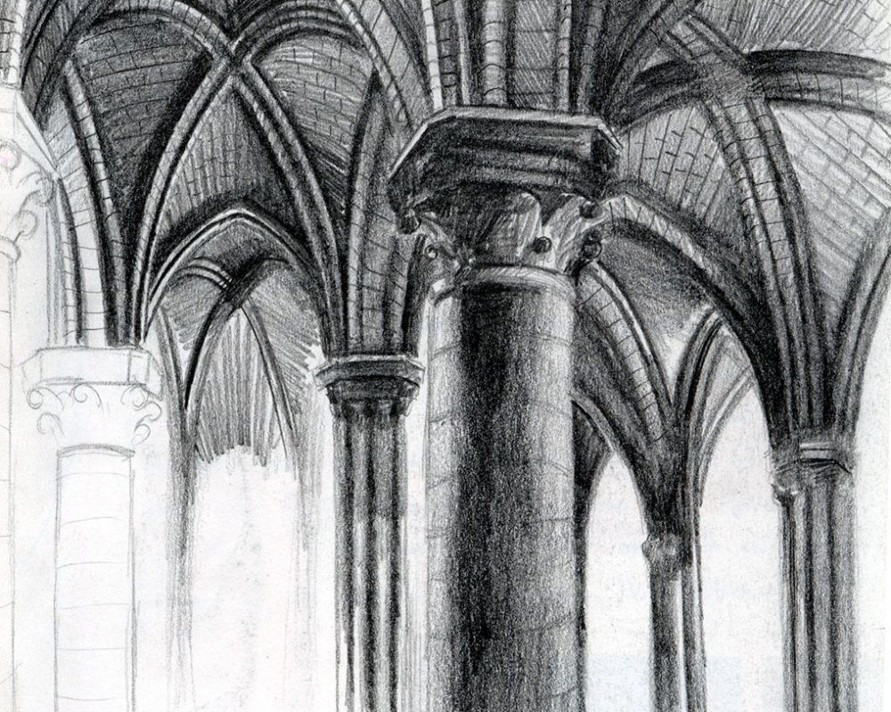 Pencil Sketchbook Drawing, Gothic Cathedral