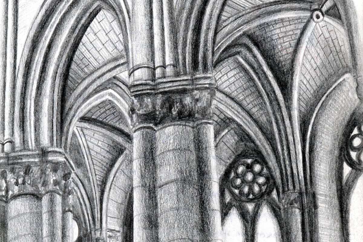 Pencil Sketchbook Drawing Gothic Cathedral Clara Lieu
